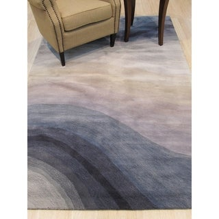 Hand-tufted Wool Blue Contemporary Abstract Desertland Rug - 4' x 6'