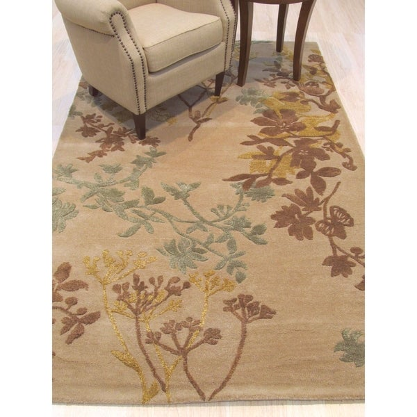 Hand-tufted Wool & Viscose Beige Traditional Floral Savannah Rug - 4' x 6'