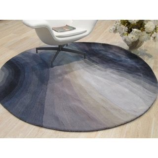 """Hand-tufted Wool Blue Contemporary Abstract Desertland Rug - 7'9"""" Round"""