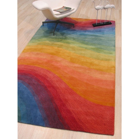 Hand-tufted Wool Lollipop Contemporary Abstract Desertland Rug - 5' x 8'