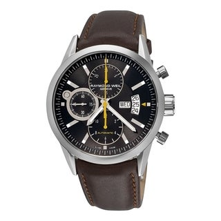 Raymond Weil Men's 7730-STC-20021 'Freelancer' Chronograph Automatic Brown Leather Watch - Black