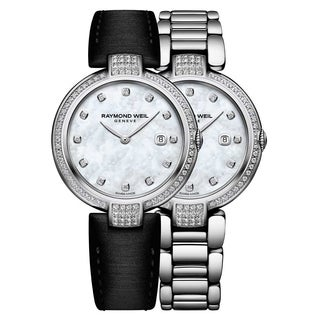 Raymond Weil Women's 1600-SCS-97081 'Shine' Diamond Interchangeable Black Leather Strap Stainless Steel Watch - Mother of Pearl