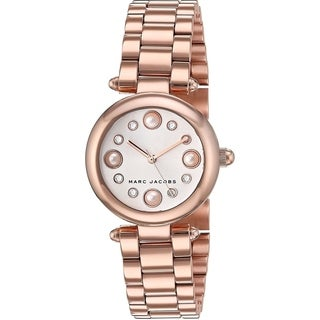 Marc Jacobs Women's MJ3520 'Dotty' Crystal Rose-Tone Stainless Steel Watch - Silver