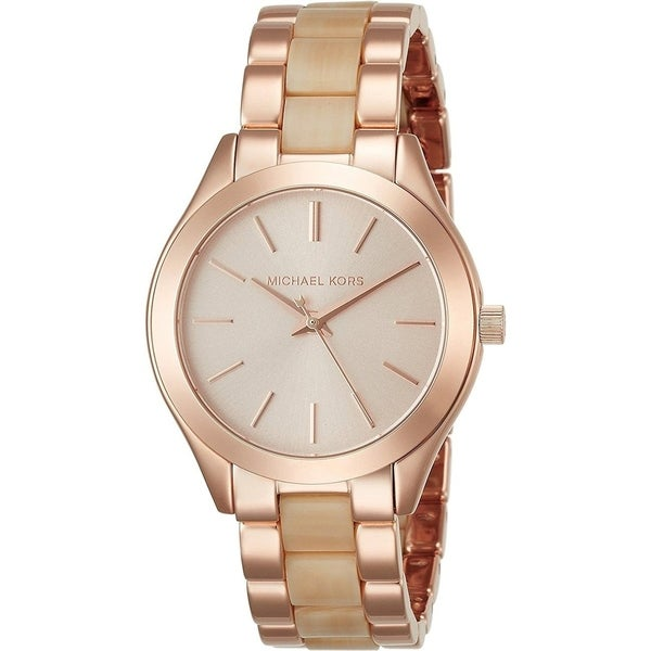 917bf761ee5c Shop Michael Kors Women s MK3701  Mini Slim Runway  Two-Tone Stainless  steel and Acetate Watch - Silver - Free Shipping Today - Overstock -  17963997