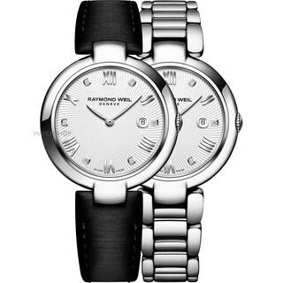 Raymond Weil Women's 1600-ST-00618 'Shine' Diamond Interchangeable Black Satin Strap Stainless Steel Watch - Silver