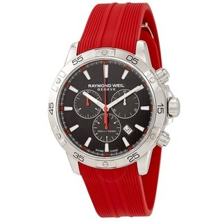 Raymond Weil Men's 8560-SR2-20001 'Tango 300' Chronograph Red Rubber Watch - Black