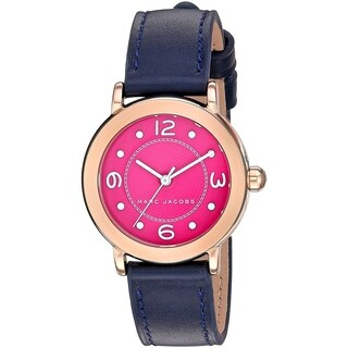 Marc Jacobs Women's MJ1558 'Riley' Blue Leather Watch - Silver
