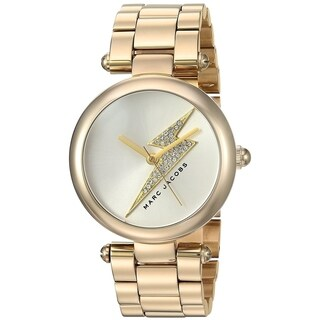 Marc Jacobs Women's MJ3545 'Dotty' Lightning Bolt Crystal Gold-Tone Stainless Steel Watch - Silver