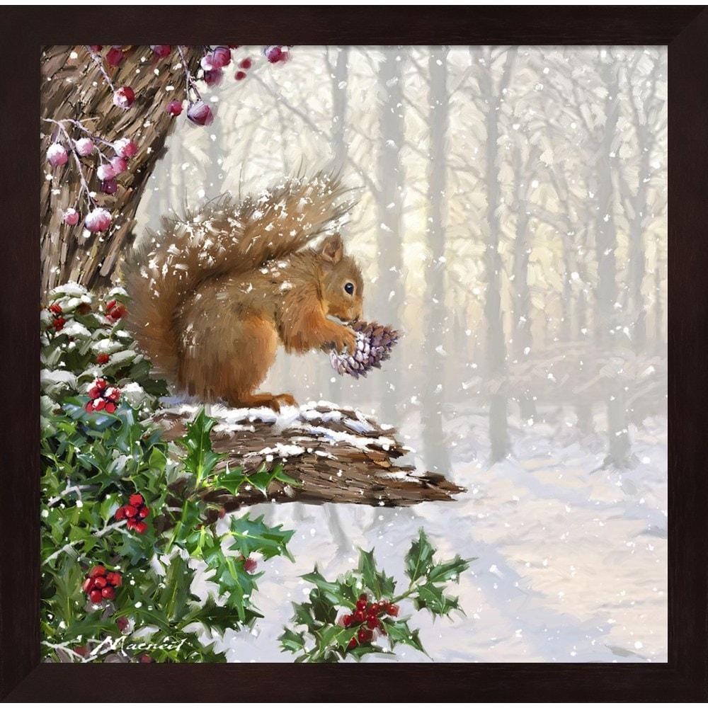 Christmas Squirrel.Christmas Squirrel Framed Wall Art
