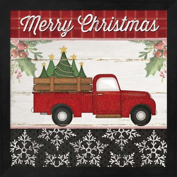 Shop Merry Christmas Truck Framed Wall Art - Free Shipping Today ...