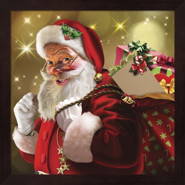 Shop Santa Gift Framed Wall Art - Free Shipping Today - Overstock ...