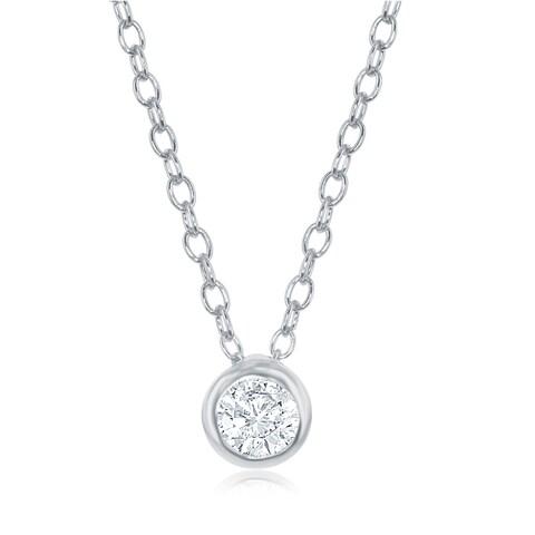 La Preciosa Sterling Silver or Rose Gold Single Bezel Set Cubic Zirconia 16+2'' Necklace