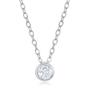 La Preciosa Sterling Silver or Rose Gold Single Bezel Set Cubic Zirconia 16+2'' Necklace