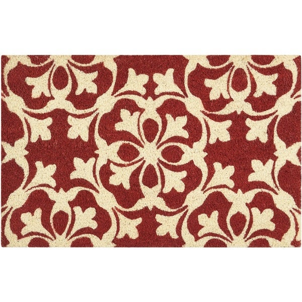 """Waverly Greetings """"Courtyard"""" Coral Doormat by Nourison (1'6 x 2'4) - 1'6 x 2'4"""