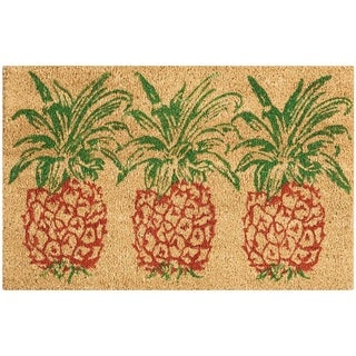 "Waverly Greetings ""Pineapple"" Orange Doormat by Nourison - 1'6 x 2'4"