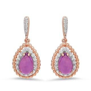 Marabela 10k Rose Gold Amethyst and Diamond Tear Drop Dangle Earrings - Purple