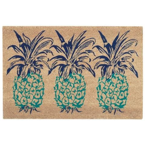 "Waverly Greetings ""Pineapple"" Aqua Doormat by Nourison - 1'6 x 2'4"