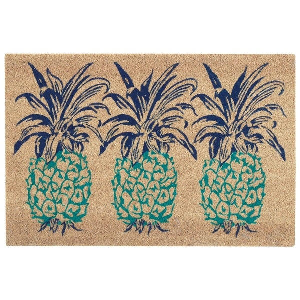 "Waverly Greetings ""Pineapple"" Aqua Doormat by Nourison - 2' x 3'"