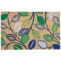 """Waverly Greetings """"Leaflet"""" Navy Doormat by Nourison (1'6 x 2'4) - 1'6 x 2'4"""