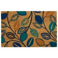 "Waverly Greetings ""Leaflet"" Aqua Doormat by Nourison (1'6 x 2'4) - 1'6 x 2'4"