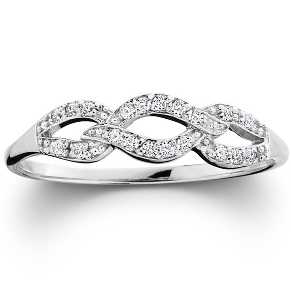 bliss 10k white gold 110ct tdw diamond infinity wedding ring i ji2 - Infinity Wedding Ring