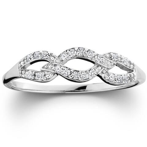 Pompeii3 10k White Gold 1/10ct TDW Diamond Infinity Wedding Ring (I-J,I2-I3)