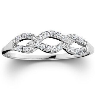 Pompeii3 10k White Gold 1 10ct TDW Diamond Infinity Wedding Ring I J I2 I3