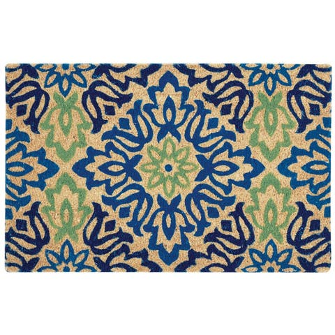 "Waverly Greetings ""Sweet Things"" Navy Doormat by Nourison (1'6 x 2'4) - 1'6 x 2'4"