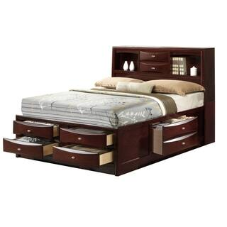 Emily Complete Storage Full-Size Bed with Drawers and 56 in. H Bookcase Headboard in Merlot Finish|https://ak1.ostkcdn.com/images/products/17964240/P24140598.jpg?impolicy=medium