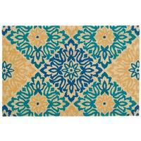 "Waverly Greetings ""Sweet Things"" Aqua Doormat by Nourison (1'6 x 2'4) - 1'6 x 2'4"