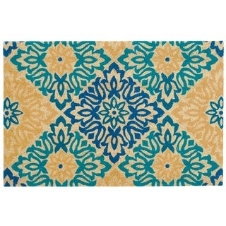 "Waverly Greetings ""Sweet Things"" Aqua Doormat by Nourison (1'6 x 2'4) - 1'6 x 2'4"