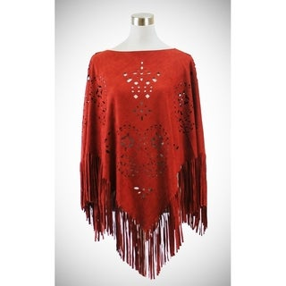 Faux suede poncho with laser cut diamonds and paisley patterns (Option: Brown)