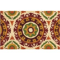 """Waverly Greetings """"Solar Flair"""" Rust Doormat by Nourison - 1'6 x 2'4"""