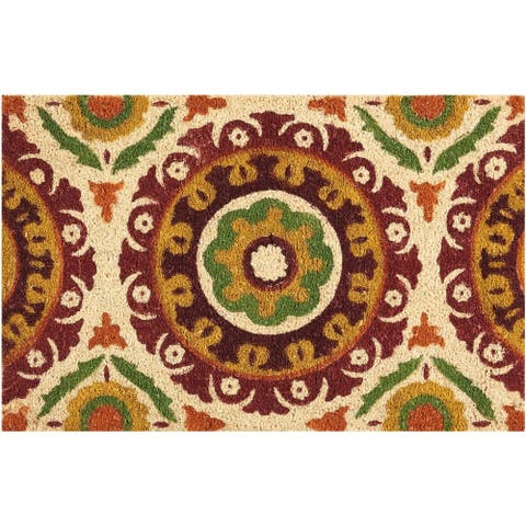 """Waverly Greetings """"Solar Flair"""" Rust Doormat by Nourison (1'6 x 2'4) - 1'6"""" x 2'4"""""""