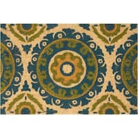 """Waverly Greetings """"Solar Flair"""" Blue Green Doormat by Nourison (1'6 x 2'4) - 2' X 3'"""