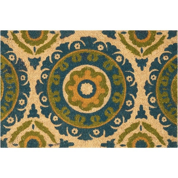 """Waverly Greetings """"Solar Flair"""" Blue Green Doormat by Nourison (1'6 x 2'4)"""