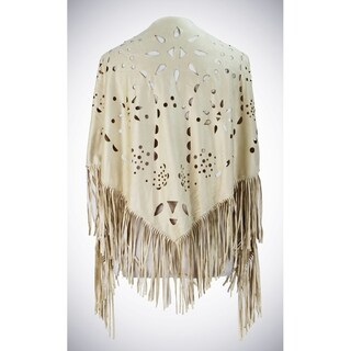 Soft faux suede shawl with intricate laser cut floral details and fringe