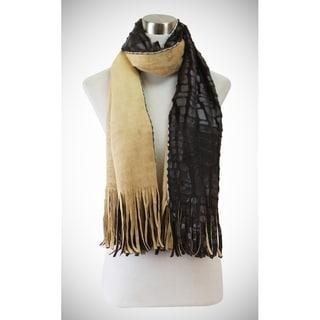 Soft, two sided fringe end oblong scarf