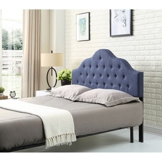 Hodedah Twin Upholstered Tufted Rounded Headboard
