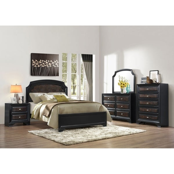 Farrah Complete Panel Queen Size Bed With 57 In. H Headboard In Olivia Black