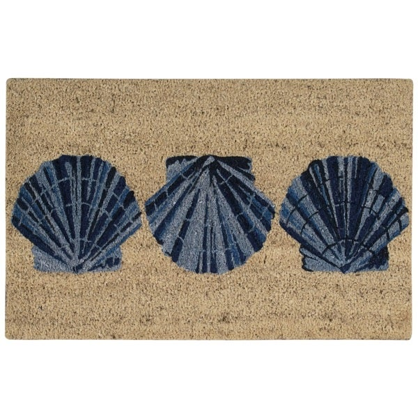 "Waverly Greetings ""Trio Shells"" Blue Doormat by Nourison - 1'6 x 2'4"