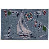 "Waverly Greetings ""Sailing"" Blue Doormat by Nourison (1'6 x 2'4) - 2' x 3'"