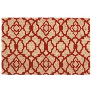 "Waverly Greetings ""Lovely Lattice"" Red Doormat by Nourison (1'6 x 2'4) - 2' X 3'"