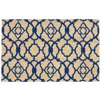 """Waverly Greetings """"Lovely Lattice"""" Navy Doormat by Nourison (1'6 x 2'4) - 2' x 3'"""