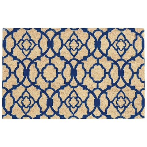 """Waverly Greetings """"Lovely Lattice"""" Navy Doormat by Nourison (1'6 x 2'4)"""