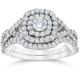 Bliss 10k White Gold 1 1/10 ct TDW Cushion Halo Diamond Engagement Ring Set (I-J,I2-I3)
