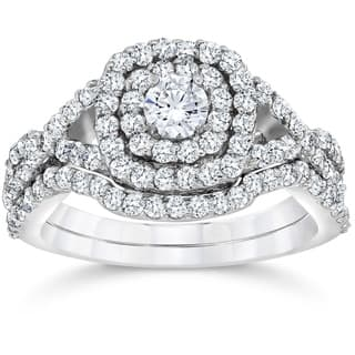 Bliss 10k White Gold 1 1/10 ct TDW Cushion Halo Diamond Engagement Ring Set (I-J,I2-I3)|https://ak1.ostkcdn.com/images/products/17964332/P24140647.jpg?impolicy=medium