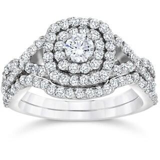 Bliss 10k White Gold 1 1/10 ct TDW Cushion Halo Diamond Engagement Ring Set (I-J,I2-I3)