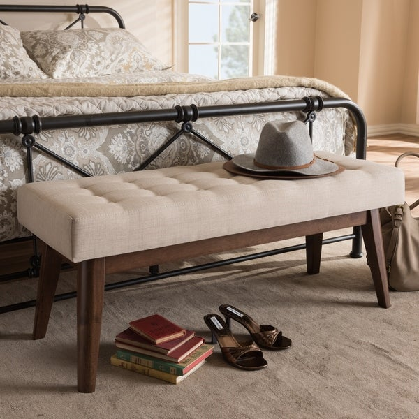 Shop Mid Century Fabric Button Tufted Bench By Baxton