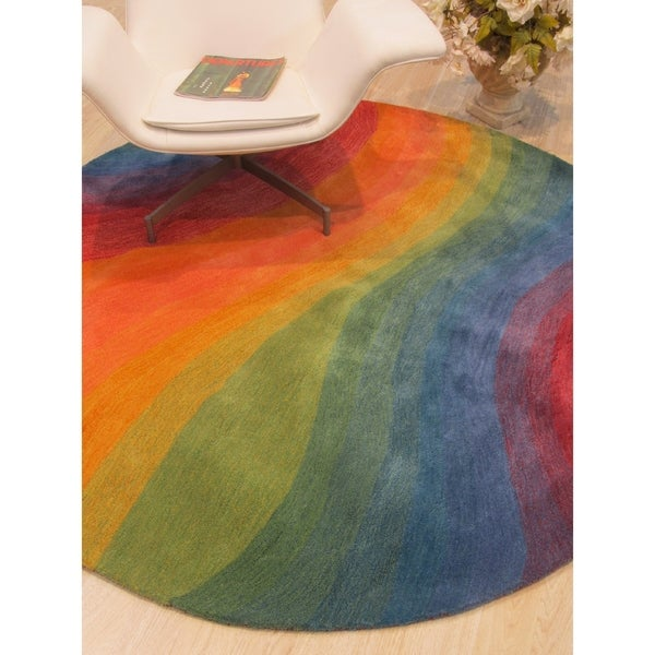 "Hand-tufted Wool Lollipop Contemporary Abstract Desertland Rug - 9'9"" Round"